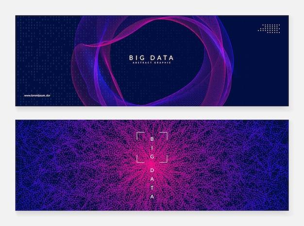 ビッグデータの要約。デジタル技術の背景。人工知能とディープラーニングの概念。科学テンプレートのテックビジュアル。現代のビッグデータの抽象的な背景。