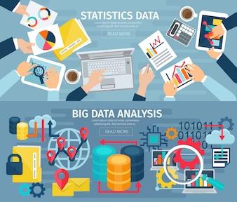 ビッグデータ分析とデータベース統計システム2フラットバナー