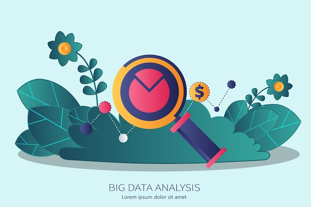 Big data analysis concept in business