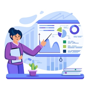 Big data analysis concept illustration with characters in flat design