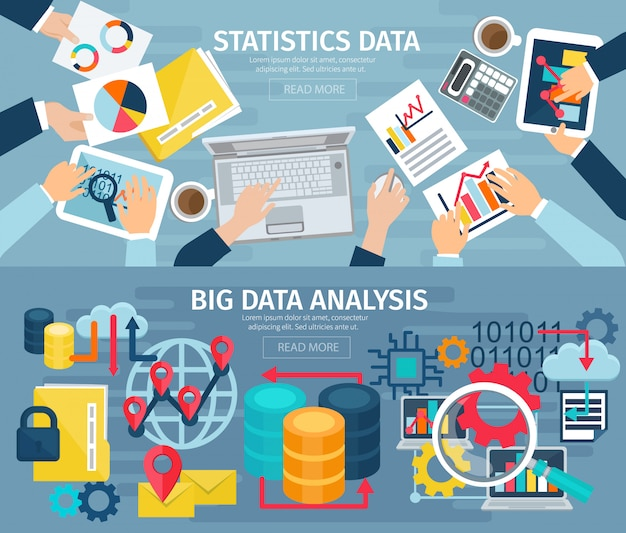 Big data analysis and database statistic systems 2 flat banners
