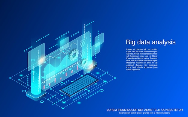 ビッグデータ分析フラット3dアイソメトリックベクトルの概念図