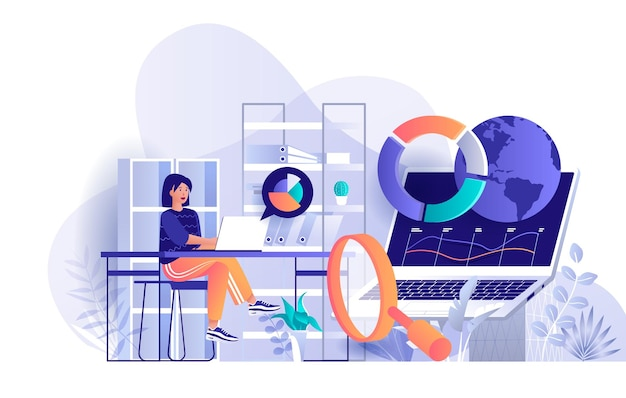 Big data analysis flat design concept illustration of people characters