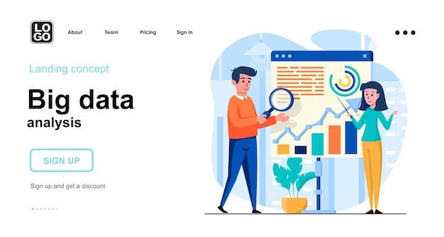 Big data analysis flat design concept