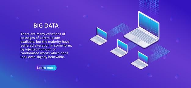 Big data analysis of information on laptop. landing page
