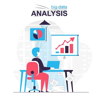 Big data analysis isolated cartoon concept analyst works with graphs and charts at office