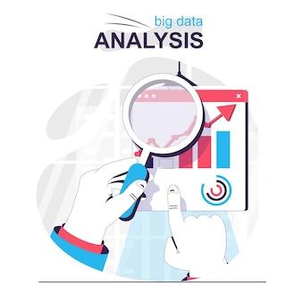 Анализ больших данных изолированный мультфильм концепция финансовая статистика исследования и бизнес-данные