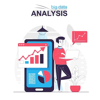 Big data analysis isolated cartoon concept man analyzes charts in mobile application
