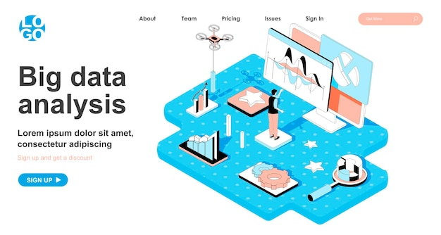 Big data analysis isometric concept in 3d design for landing page
