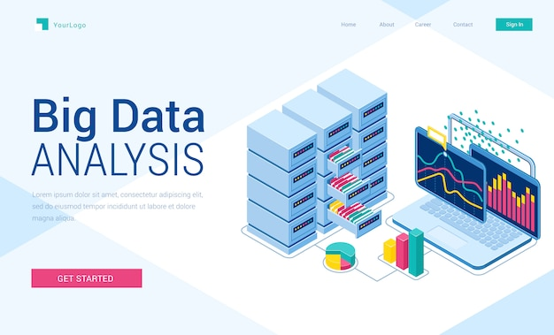 Big data analysis isometric landing page, banner
