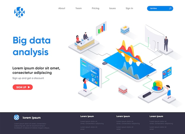 Big data analysis isometric landing page