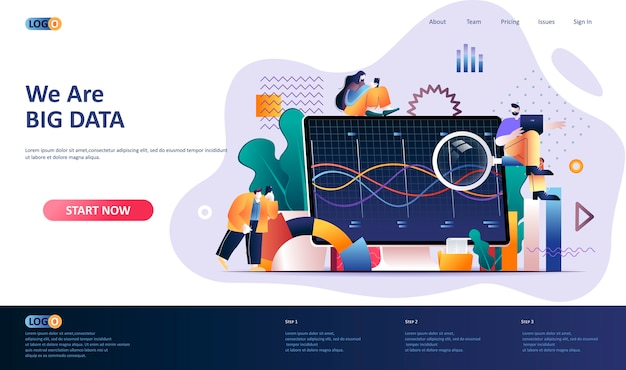 Big data analysis  landing page template  illustration