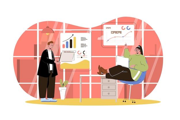 Big data analysis web concept marketing team analyzes data financial statistics business analytics