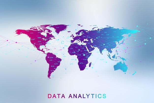 Аналитика больших данных и бизнес-аналитика. концепция цифровой аналитики с графиком и диаграммами. финансовый график карта мира инфографики. векторная иллюстрация.
