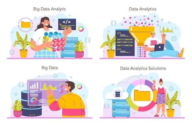 Набор аналитики больших данных. визуализация и анализ диаграмм или графиков больших данных из разных источников. составляем отчет для оптимизации. векторная иллюстрация плоский