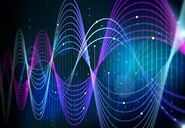 Технология аналитики больших данных, волны цифровых данных на векторном фоне экрана монитора. наука об искусственном интеллекте и цифровая сетевая информация абстрактные кривые инфографики