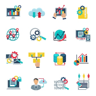 Big data analytics technology flat icons set with internet cloud
