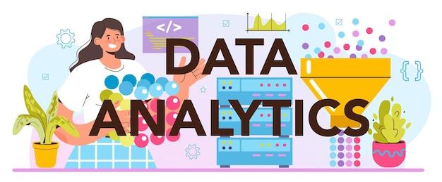 Типографский заголовок аналитики больших данных. большие данные из разных источников