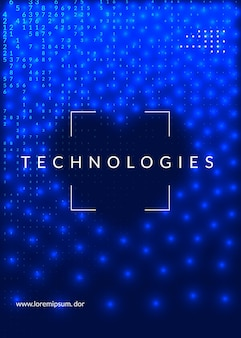 ビッグデータの背景。デジタル技術の抽象的な概念。人工知能とディープラーニング。画面テンプレートのテックビジュアル。産業ビッグデータの背景。