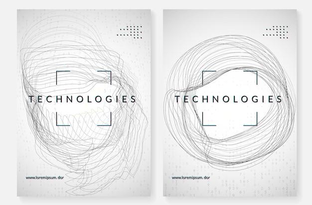 ビッグデータの背景。視覚化、人工知能、深層学習、量子コンピューティングのためのテクノロジー。情報概念のデザインテンプレート。抽象ビッグデータの背景。