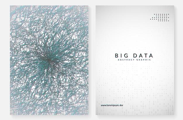 Фон больших данных. технологии визуализации, искусственного интеллекта, глубокого обучения и квантовых вычислений. шаблон дизайна для концепции системы. геометрический фон больших данных.