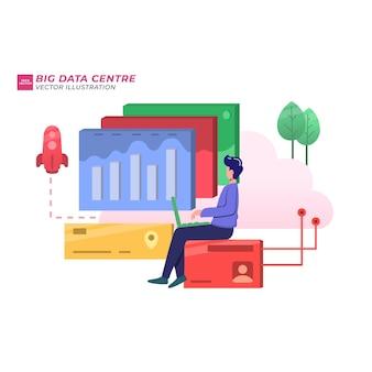 Большой центр данных плоский рисунок