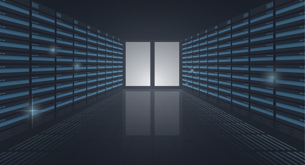 Большой дата-центр, длинный коридор серверных стеллажей, вход в серверную комнату