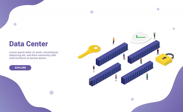 Big data center with many server room block with modern isometric ffor website template or landing homepage