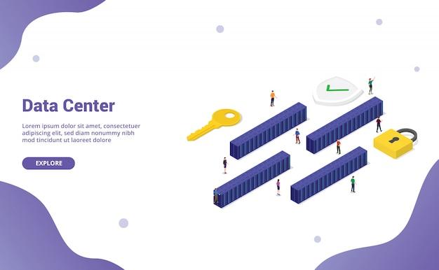 ウェブサイトのテンプレートやランディングホームページなどの最新の等尺性のサーバールームブロックが多数ある大きなデータセンター