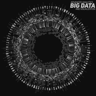 Big data circular grayscale visualization. information aesthetic design. visual data complexity. complex data threads graphic visualization.