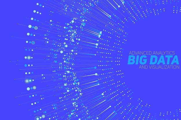 ビッグデータの循環グレースケール視覚化。情報美的デザイン。視覚的なデータの複雑さ。複雑なデータスレッドのグラフィックの視覚化。