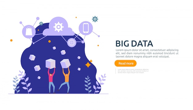 Big data cloud database analysis processing service concept