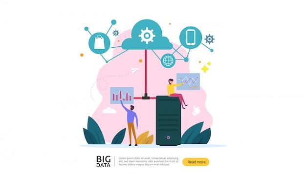 Big data cloud database analysis processing service concept
