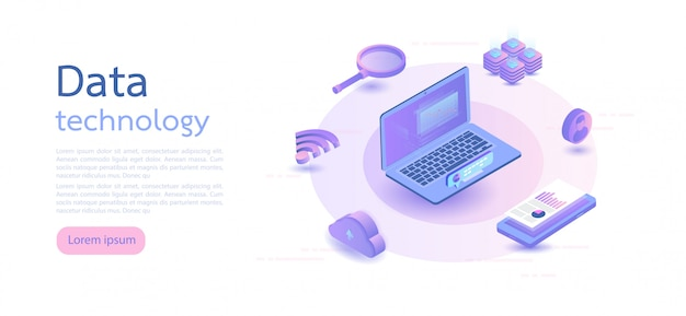 Big data, cloud information storage. isometric vector illustration.