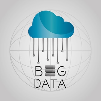 Big data cloud storage information globe connection
