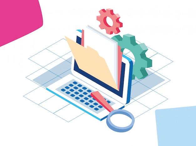 Красочный дизайн больших данных с компьютером с папкой и шестернями
