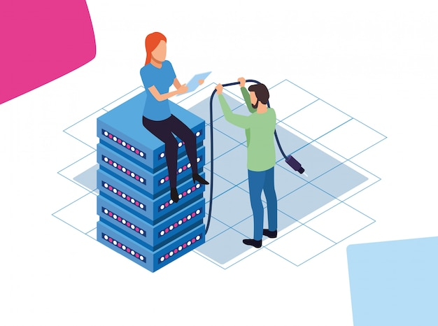 Big data colorful design with man and woman sitting on data center server