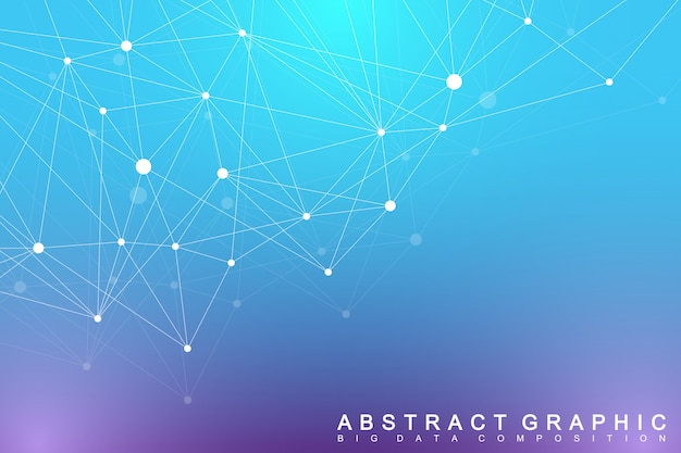 Big data complex. graphic abstract background communication. perspective backdrop of depth. minimal array with compounds lines and dots. digital data visualization. illustration big data.