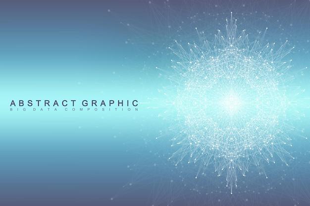 ビッグデータコンプレックス。グラフィック抽象的な背景コミュニケーション。深さの視点の背景。複合線と点を含む最小配列。デジタルデータの視覚化。ビッグデータのベクトル図。