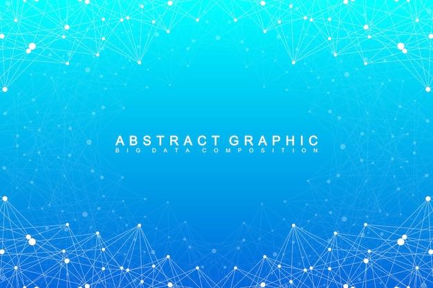 ビッグデータコンプレックス。グラフィック抽象的な背景コミュニケーション。深さの視点の背景。複合線と点を含む最小配列。デジタルデータの視覚化。ベクトルイラストビッグデータ。