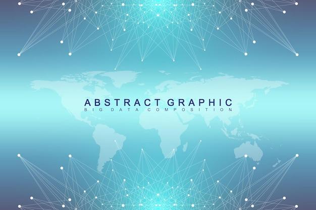 ビッグデータコンプレックス。グラフィック抽象的な背景コミュニケーション。世界地図との視点の背景。複合線と点を含む最小配列。デジタルデータの視覚化。ベクトルイラストビッグデータ。