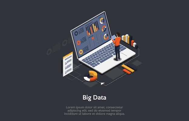 ビッグデータのコンセプトアート。画面のテキスト、チャート、グラフに関する情報を備えたラップトップ。近くに立っている男性キャラクター