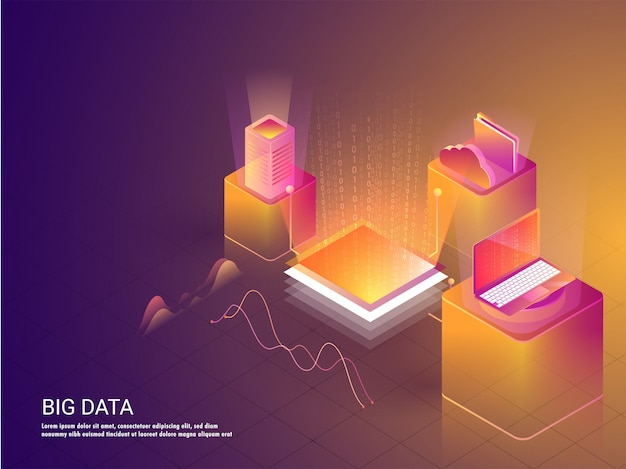 Big data concept based landing page design.