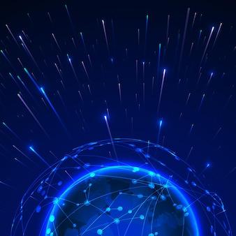 ビッグデータの概念。グローバルネットワーク周辺のデータストリーム。未来技術の青い背景。図