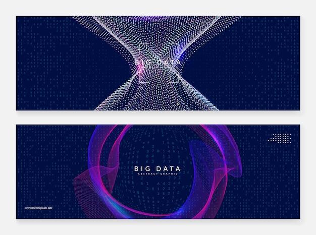 ビッグデータの概念。デジタル技術の抽象的な背景。人工知能とディープラーニング。