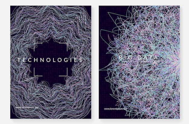 Big data concept. digital technology abstract background. artificial intelligence and deep learning. tech visual for information template. partical big data concept backdrop.