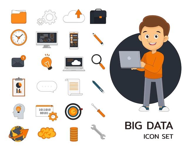Big data concept flat icons