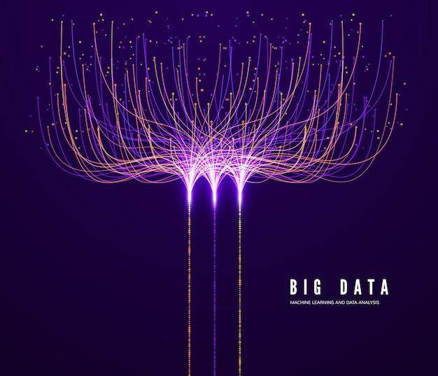 Концепция больших данных. машинное обучение и анализ данных. визуализация цифровых технологий. информация о потоке данных и обработке данных точек и соединительных линий.