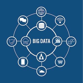 라인 아이콘으로 큰 데이터 개념 원에 연결