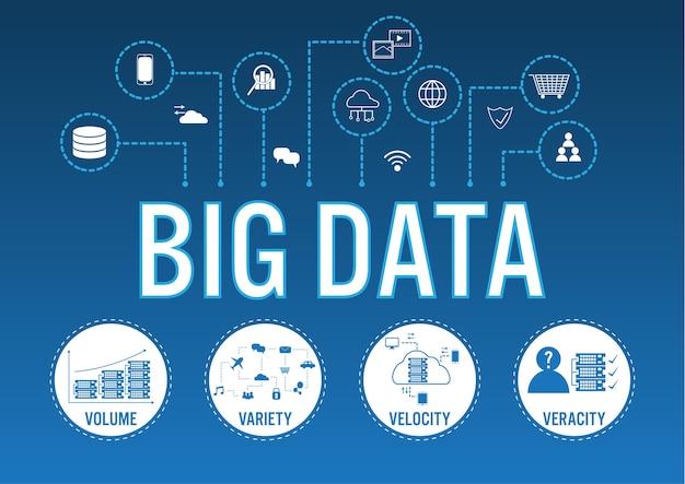 라인 아이콘으로 큰 데이터 개념